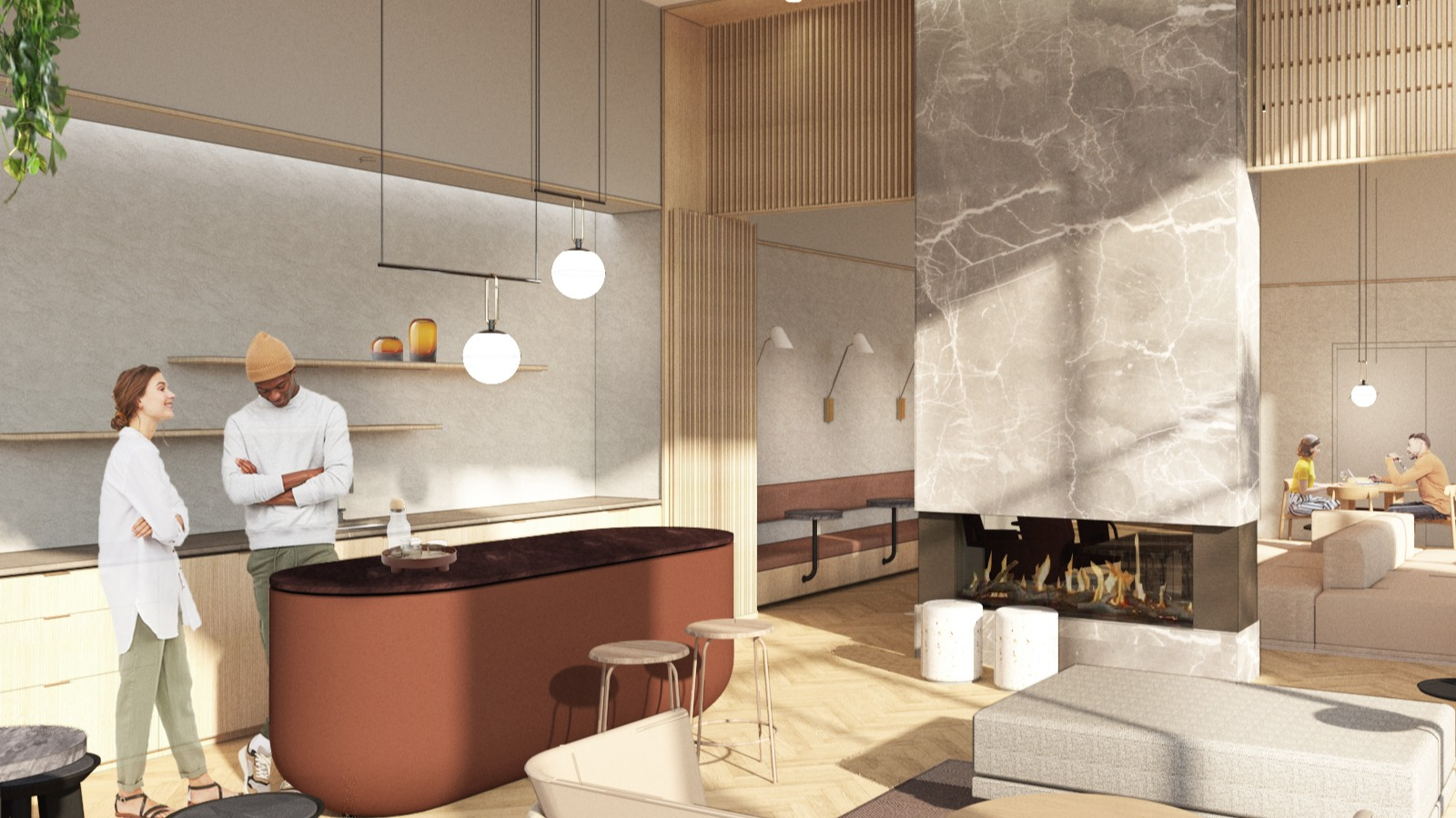 rendering of lounge area with amenities such as bar, tables and lounge chairs