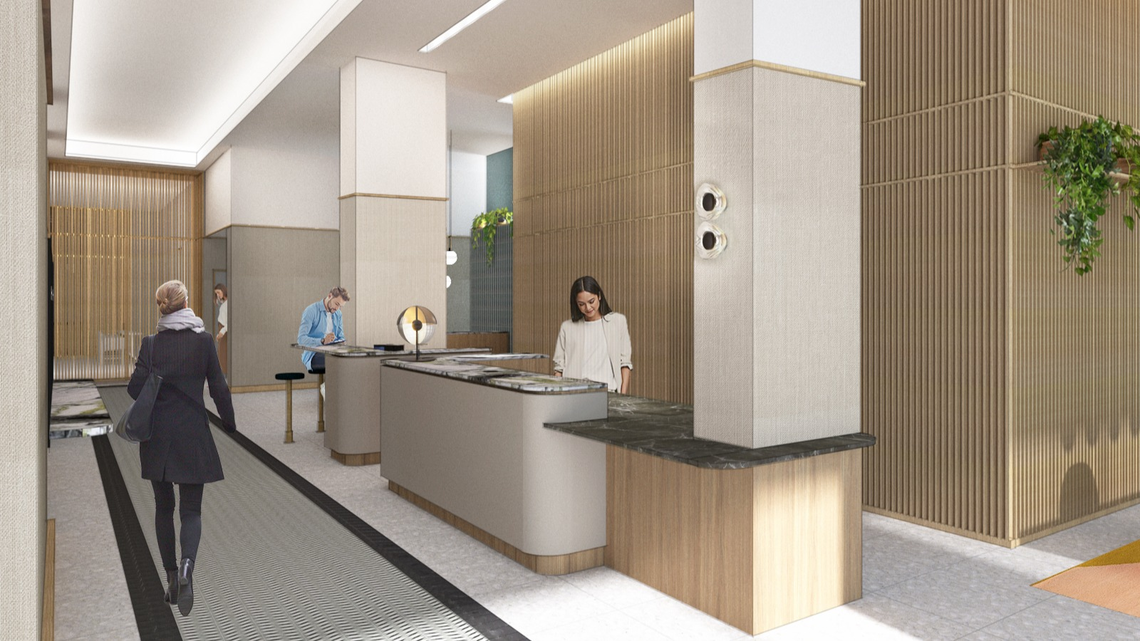 Rendering of building lobby. With concierge behind the counter at reception.