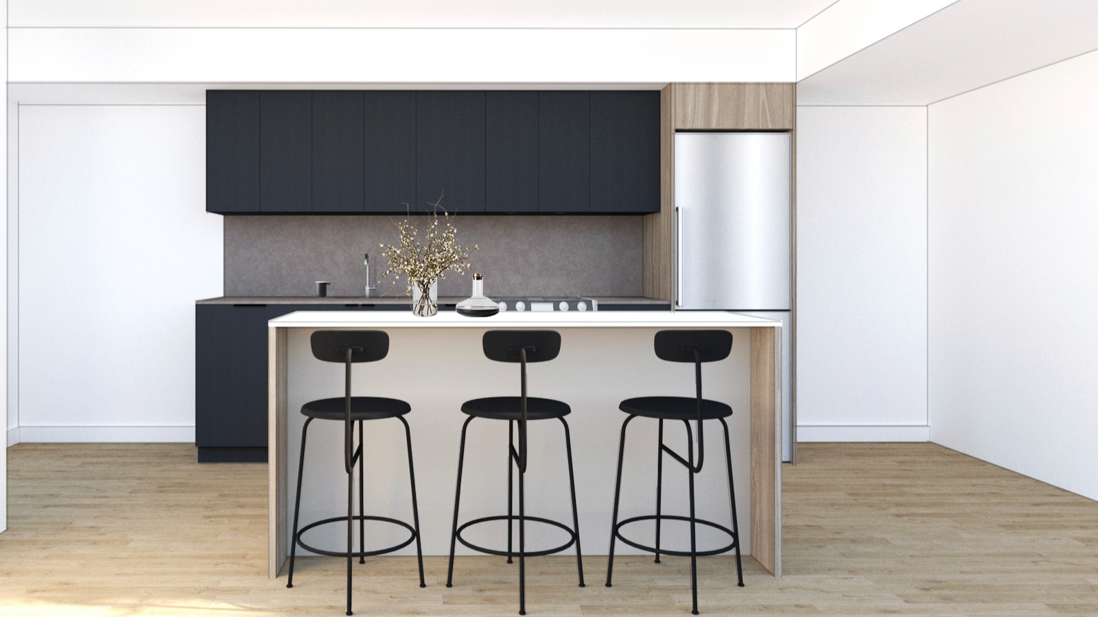 Rendering of kitchen with island and built in appliances