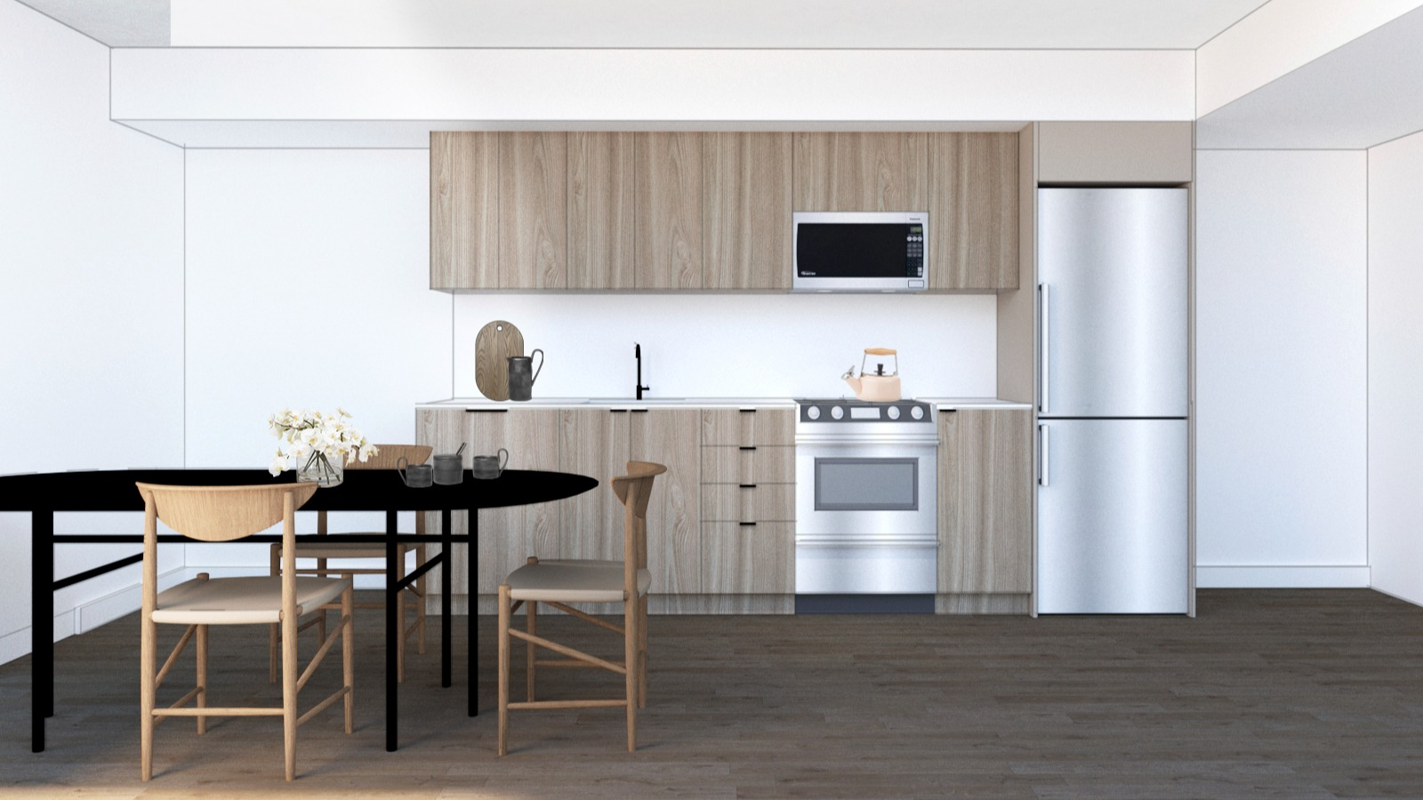 Rendering of kitchen with table and built in cabinetry and appliances
