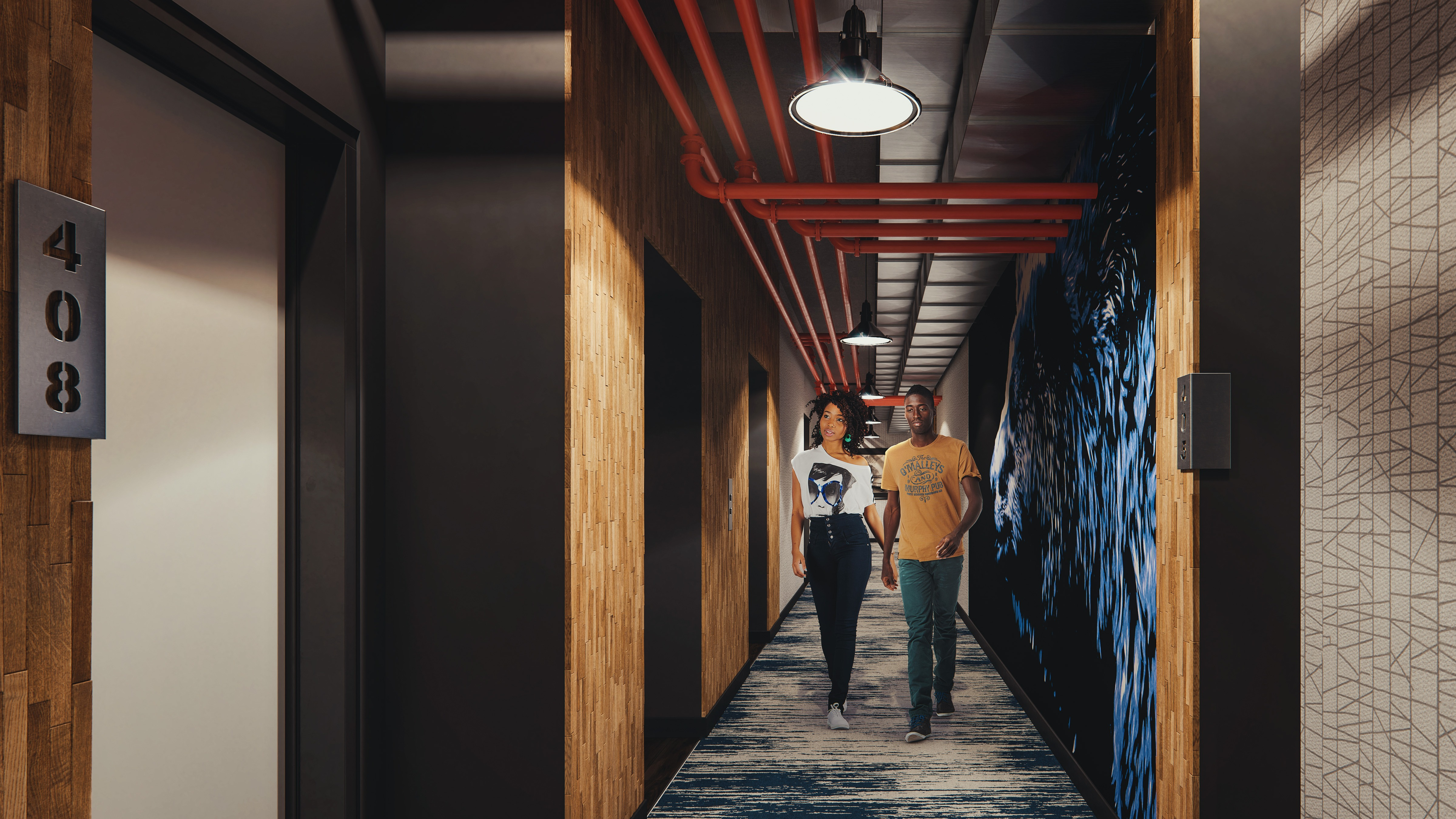 Rendering of residential hallway with two patrons strolling through