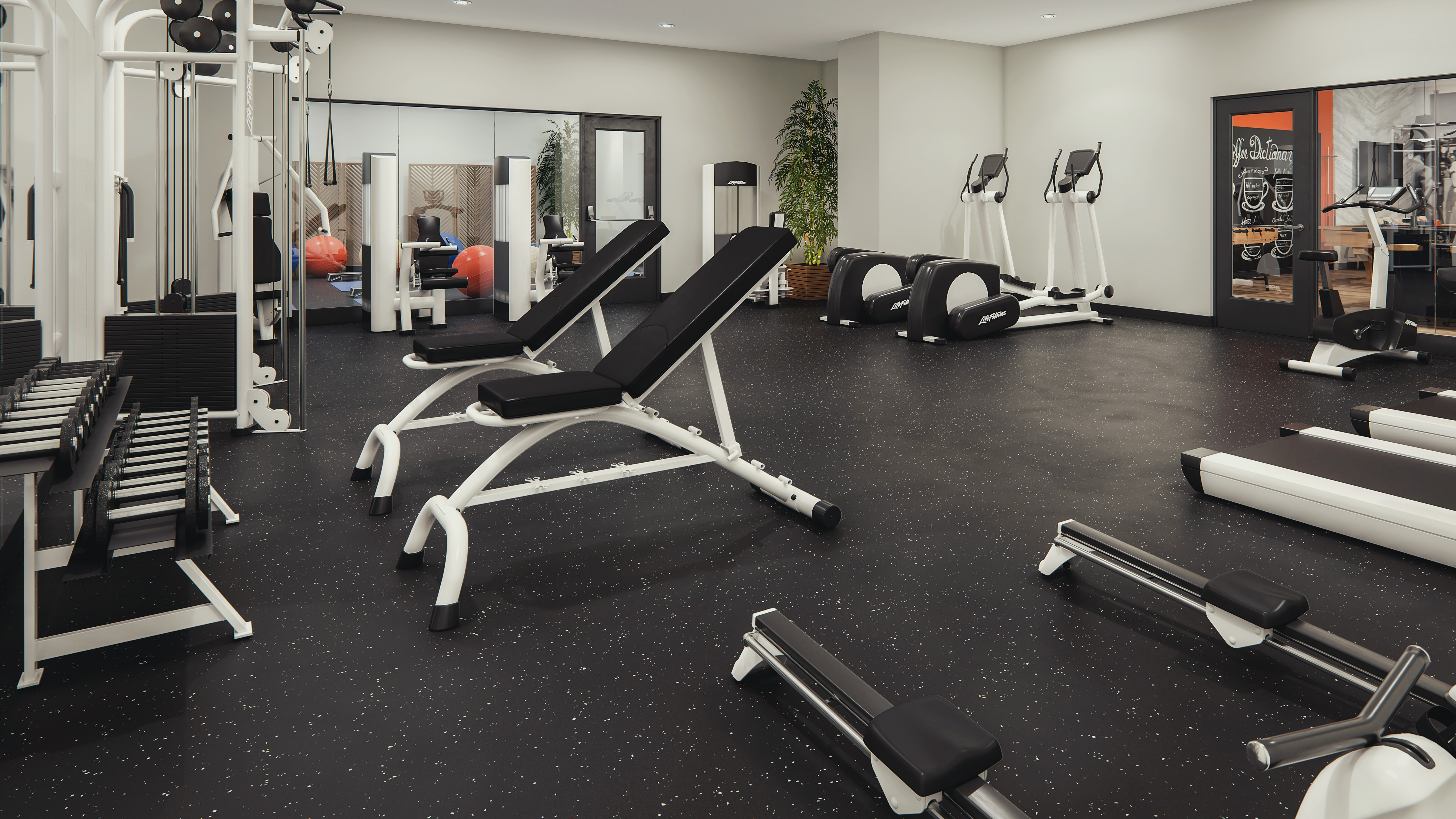 Rendering of gym facilities. Dumb bell rack, squat rack and elliptical machines