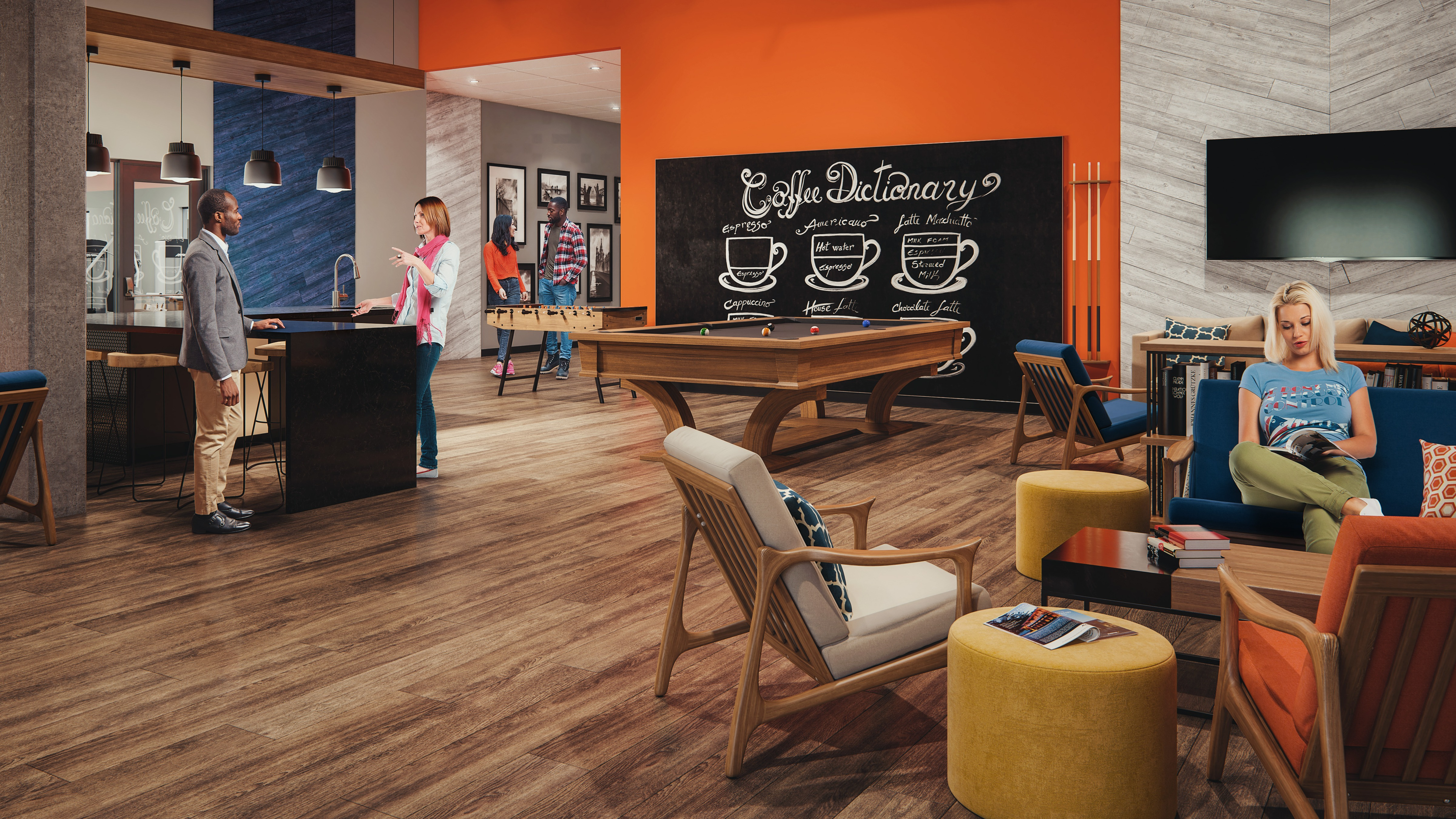 Rendering of amenities with pool table, lounge chairs and bar