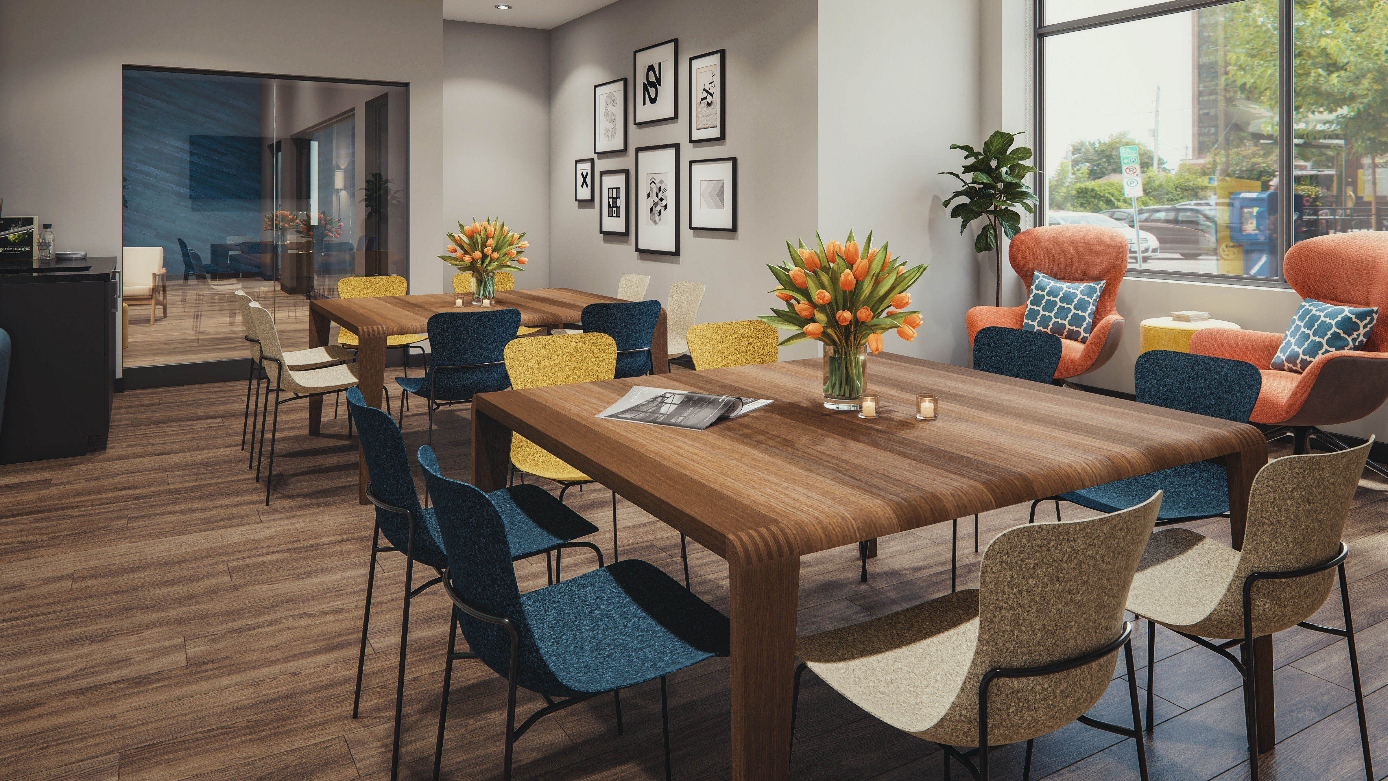 Rendering of party room with lounge chairs and farm style dining tables