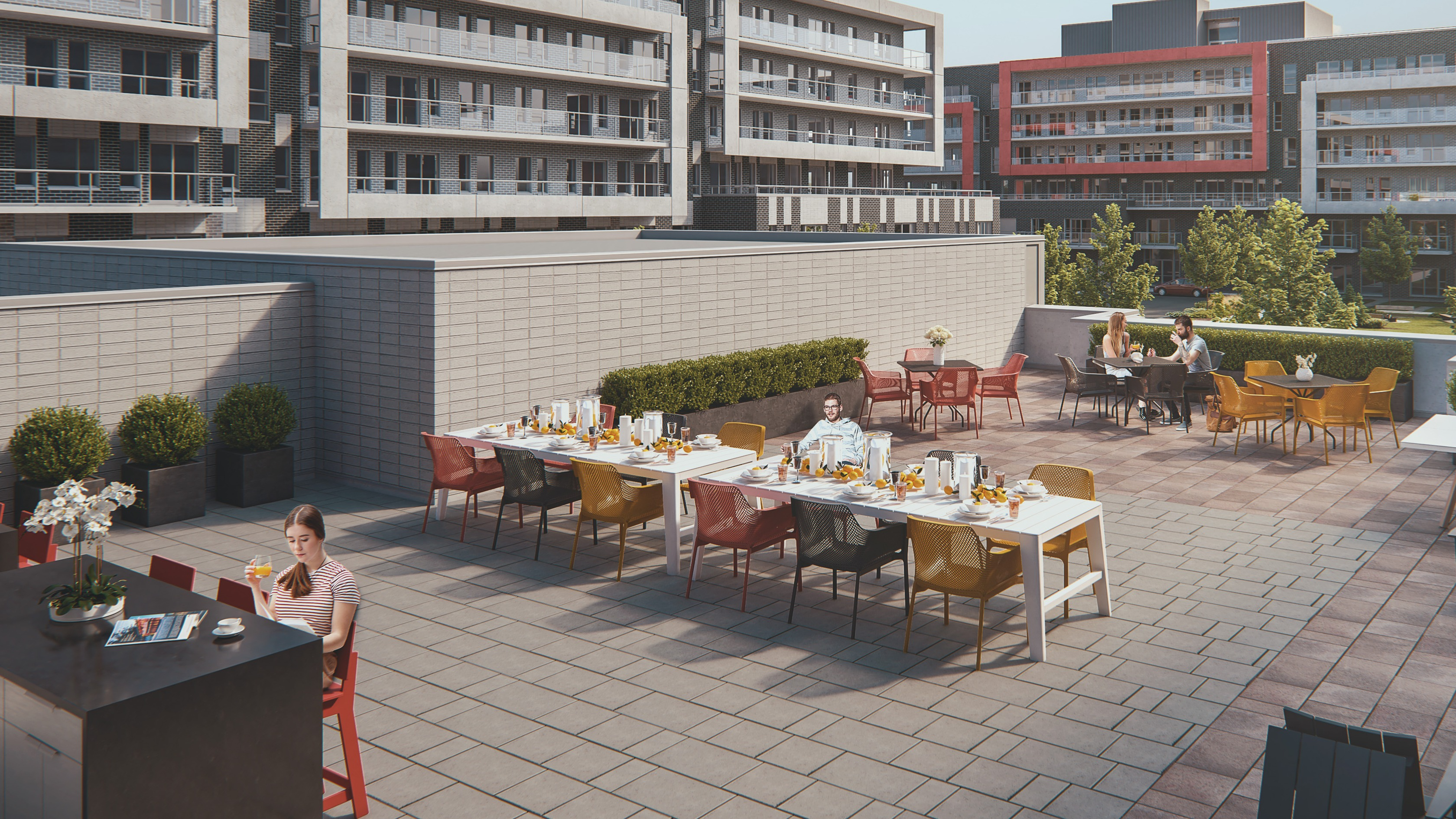 Outdoor rooftop exterior with barbeques and farm tables